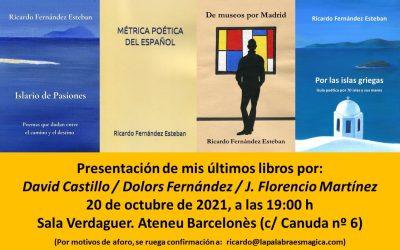 Presentación de los últimos libros de Ricardo Fernández